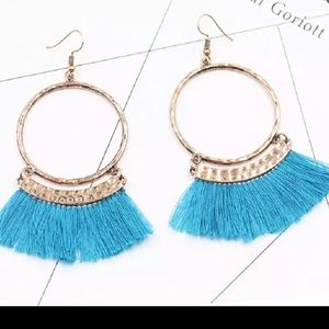 French Tassel Earrings Teal Blue New With Tags